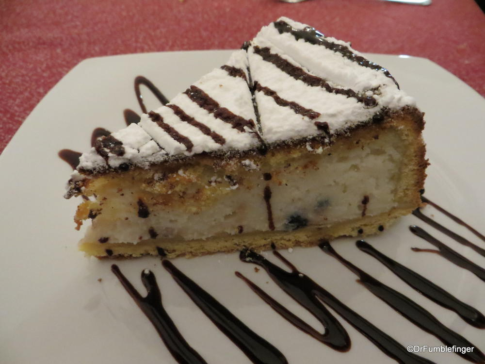 Some type of cake (didn't catch its name), mostly made of ricotta cheese.  Also superb!