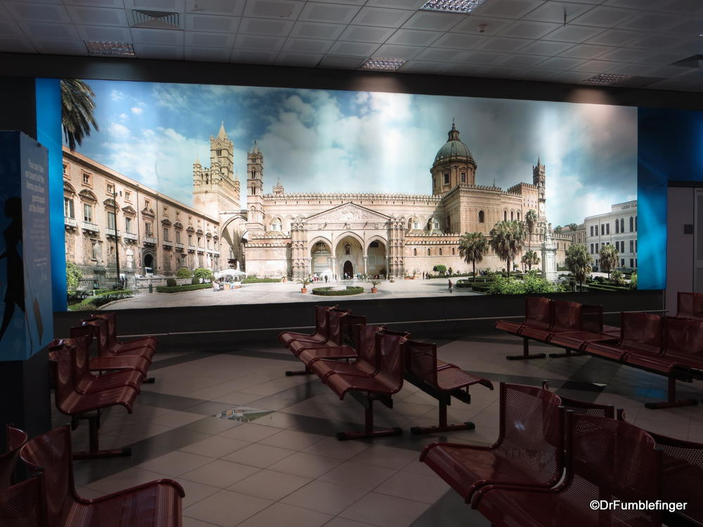 Interesting mural of Cathedral di Palermo at Palermo airport