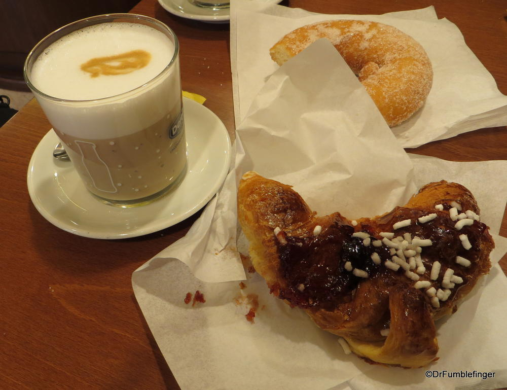 An afternoon pick-me-up.  Cafe latte and some wonderful fresh pastries