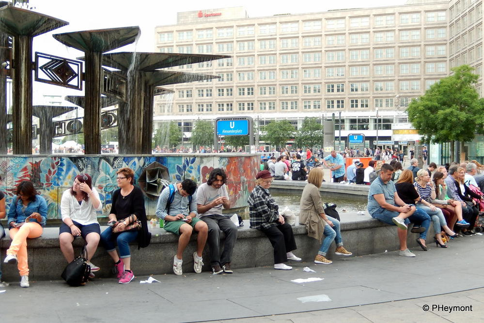 Friday night crowd, Alexanderplatz, Berlin
