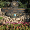 Avon, Colorado. Flowers and world Ski-championship signage