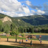 Lake and park in Avon, Colorado.  Good place for some beach volleyball