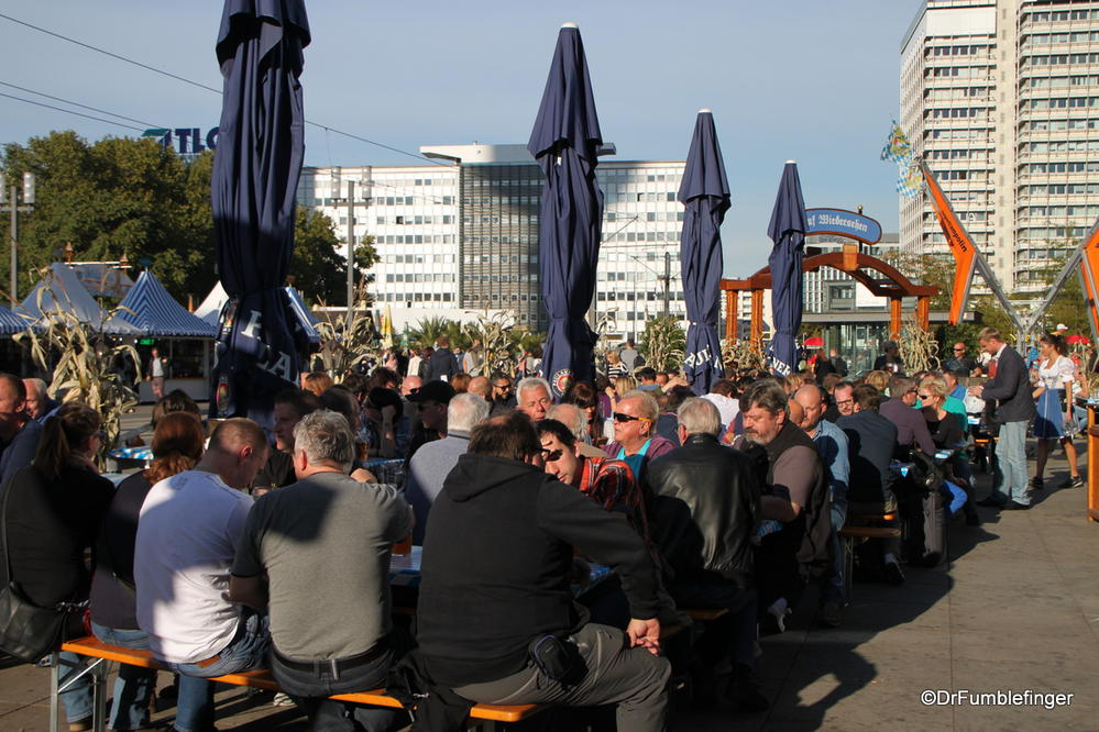 It's Oktoberfest time in Berlin, Germany. Crowded tables, typical of the festivity