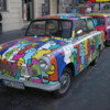 Trabants are developing a cult following in Germany.  Not sure why, but they're fun when decorated like this.