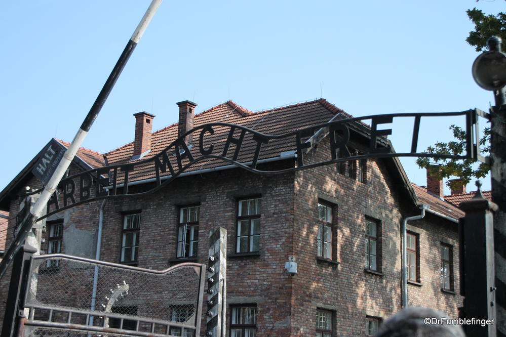 Auschwitz Concentration Camp, Poland.  The infamous 'Arbeit macht frei' sign at the entrance