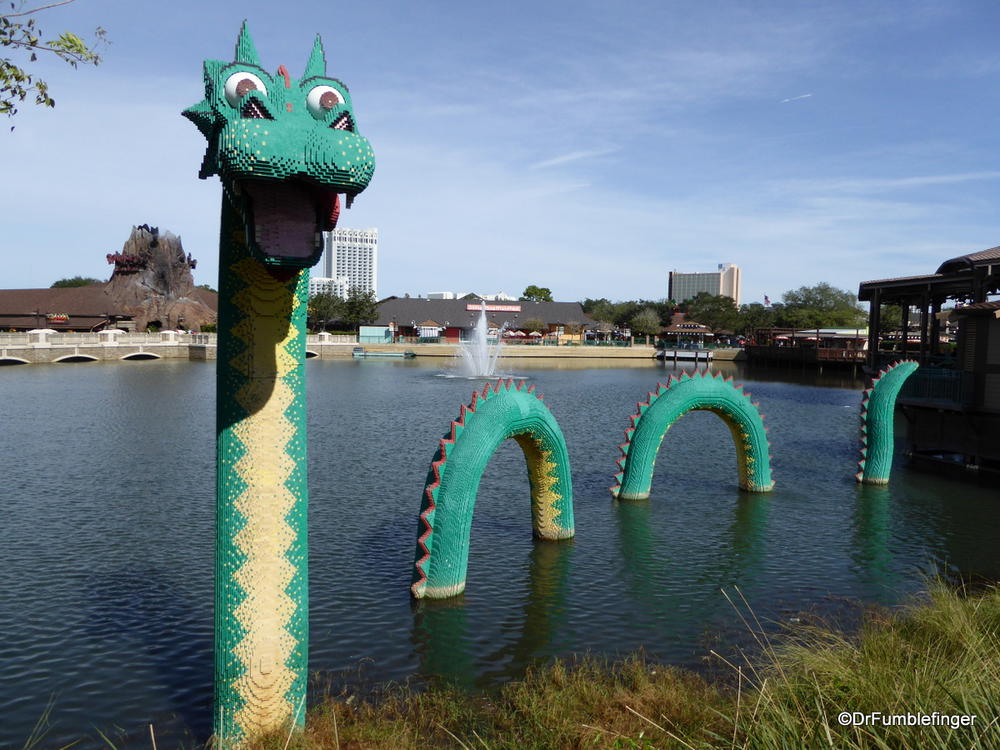 A water serpent made completely of Legos.  Only at Disney Springs
