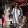 Street vendor making Chai, Jojawar, Rajasthan