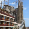 View from our Barcelona apartment rental (La Sagrada Familia)