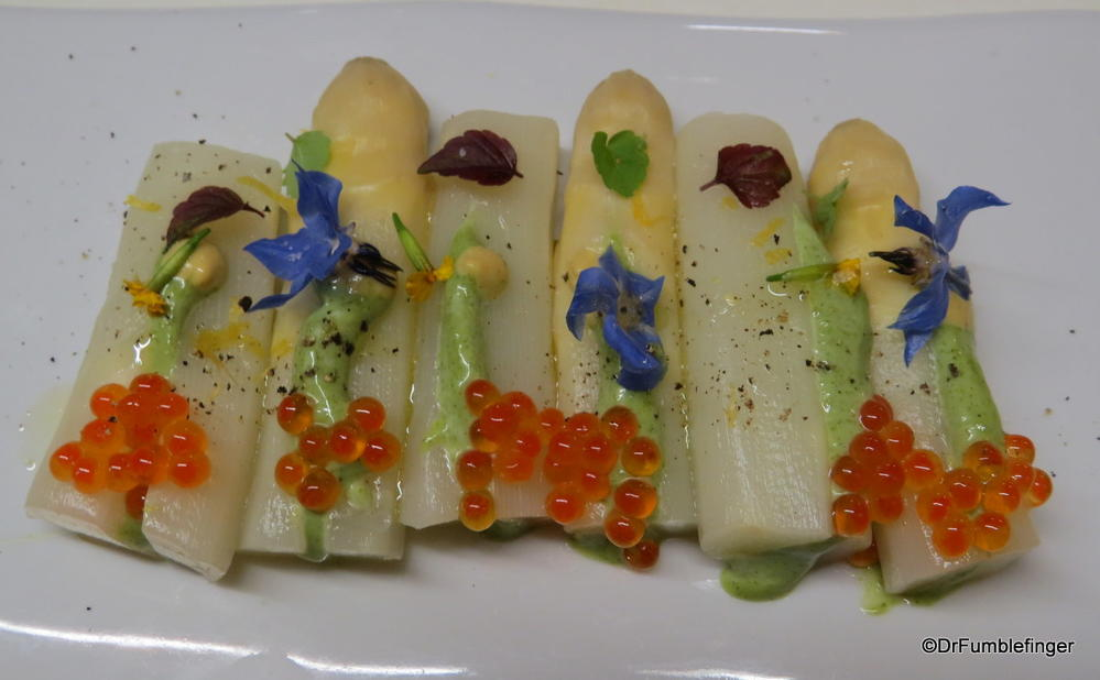 Greatest appetizer ever! White asparagus, green mustard and caviar