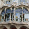 Close up of the window of Casa Batllo.  Some say Gaudi designed it to look like a bat.  What do you think?