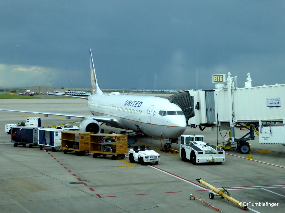 Prairie thunderstorm passing by Denver International Airport