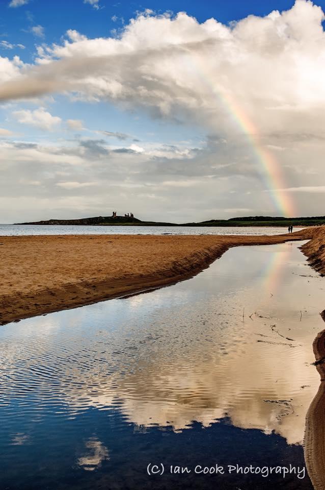 Rainbow, Dunstanburgh Castle, Embleton Bay, Northumberland.