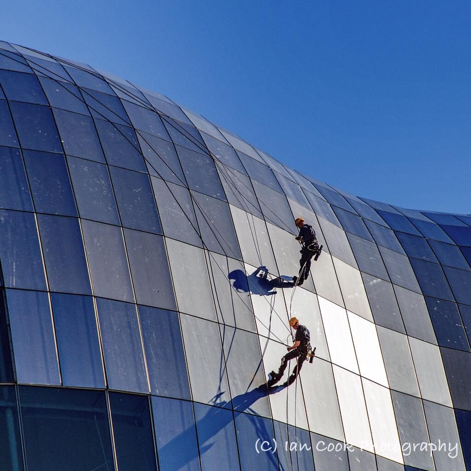 Window Cleaners on The Sage, Gateshead, UK.