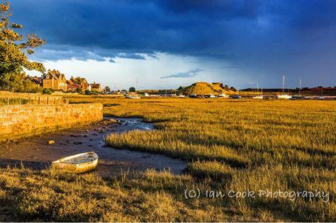 Alnmouth Estuary, Northumberland, UK. Approaching storm just prior to sunset.