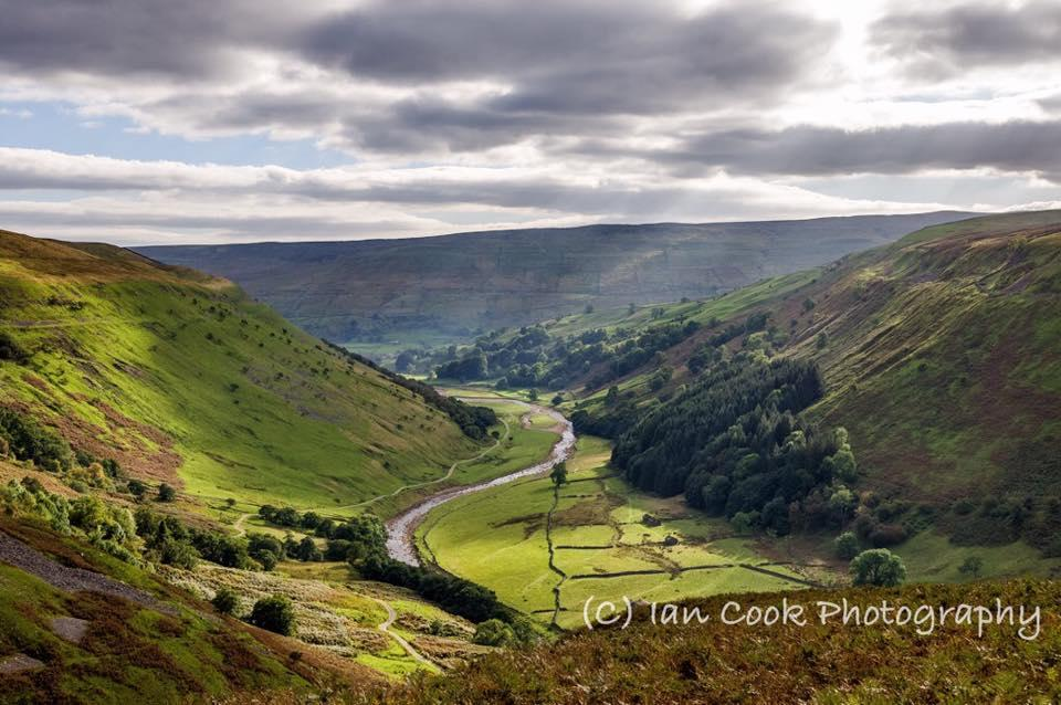 Looking down to Muker, Swaledale, North Yorkshire, from Swinnergill. Kisdon Fell on the right, Black Hill on the left.