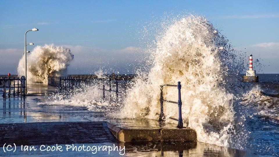 Rough Seas, high tide at Amble, Northumberland