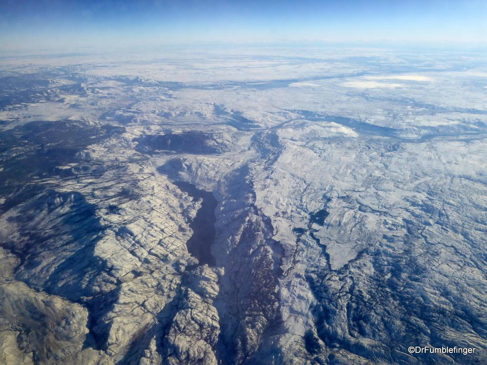 Flying over the Kootenay Rockies, winter