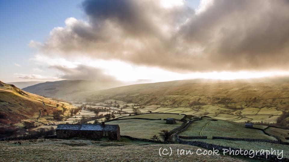 Early morning in Swaledale, Muker North Yorkshire, from Kisdon Fell.
