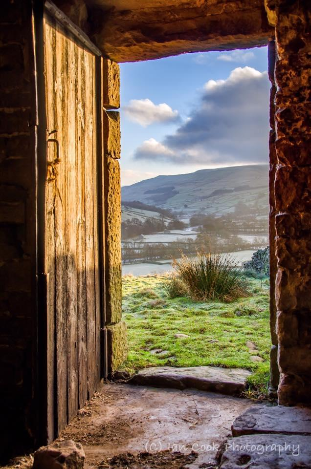 Early morning, looking over Ramps Holme, Muker, Swaledale North Yorkshire, from a Swaledale Barn on Kisdon Hill.
