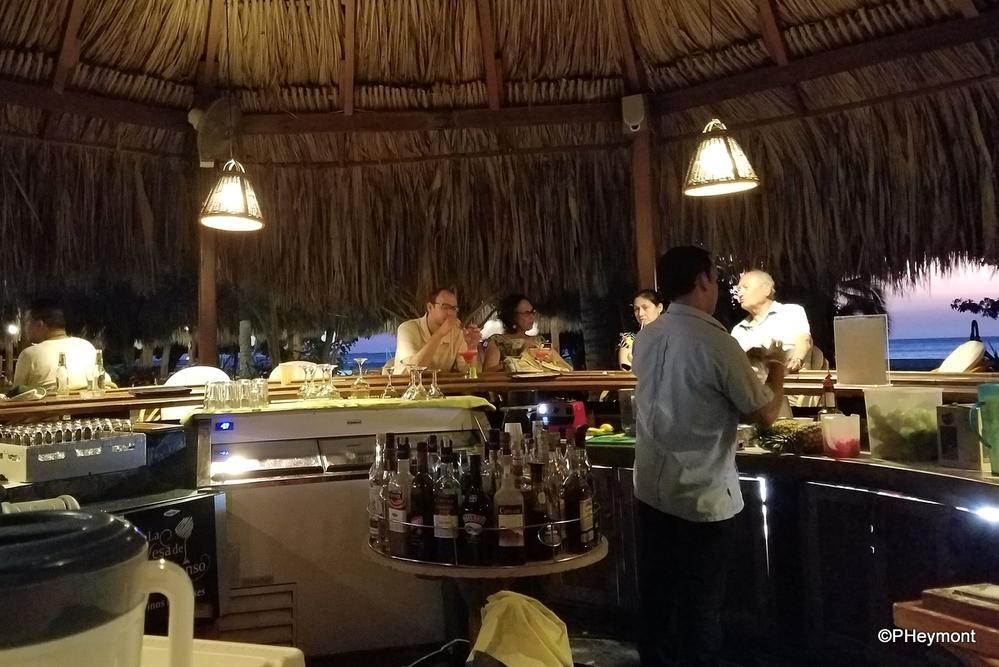 Across the bar...