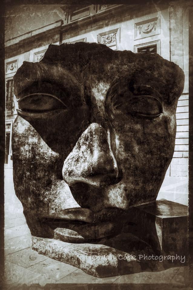 Bronze mask outside of Teatro Guimera, Tenerife