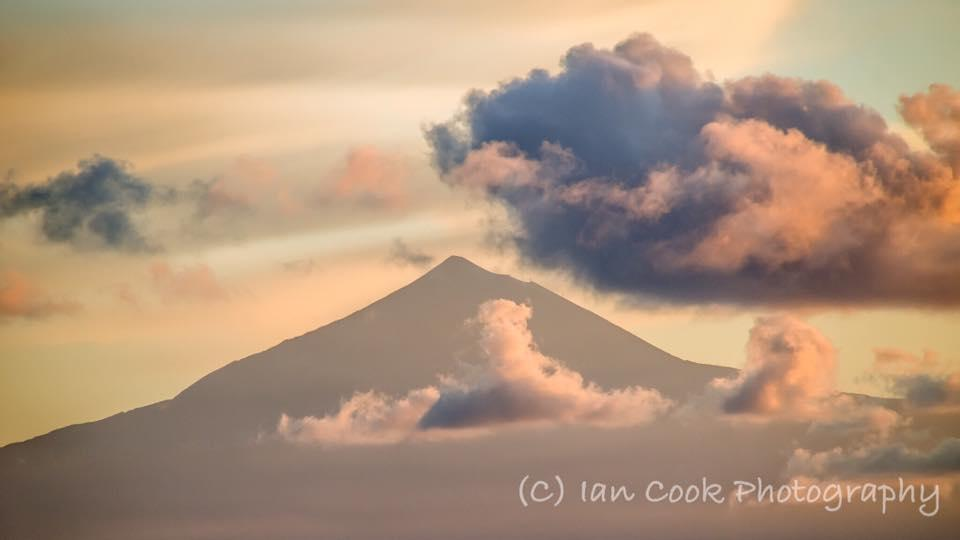 Pico de Teide on Tenerife photographed from the island of La Gomera at sunrise. Must be twenty miles away, 500mm lens, handheld