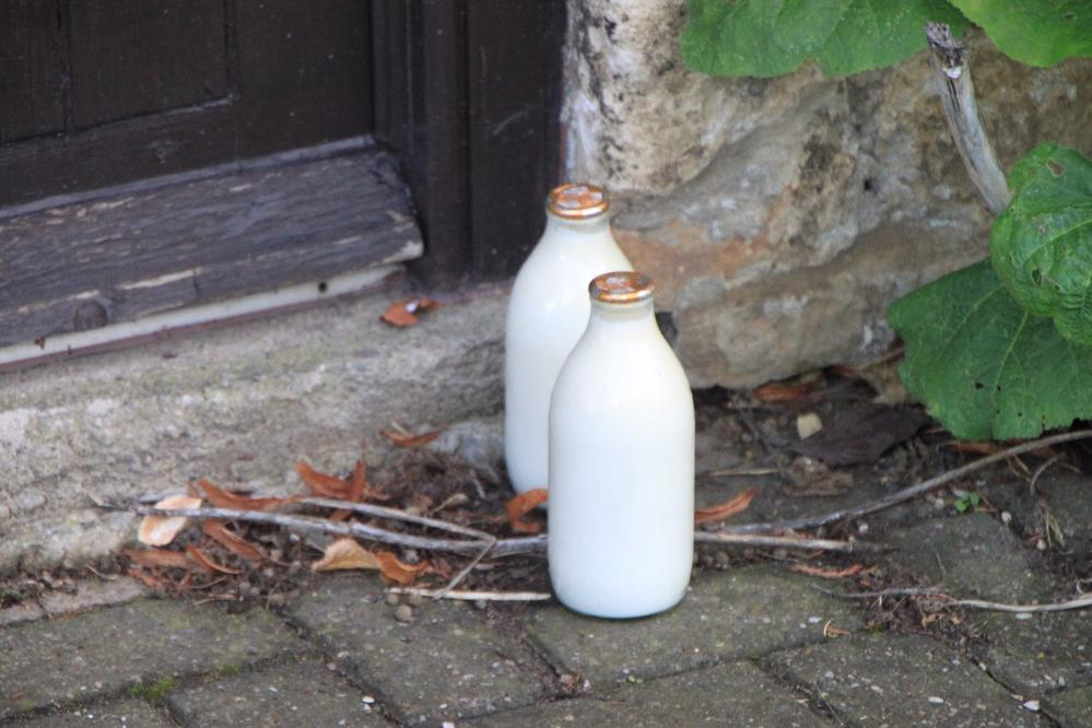 There are still places where glass bottles of milk are dropped off at your doorstep.  Chipping Campden, England