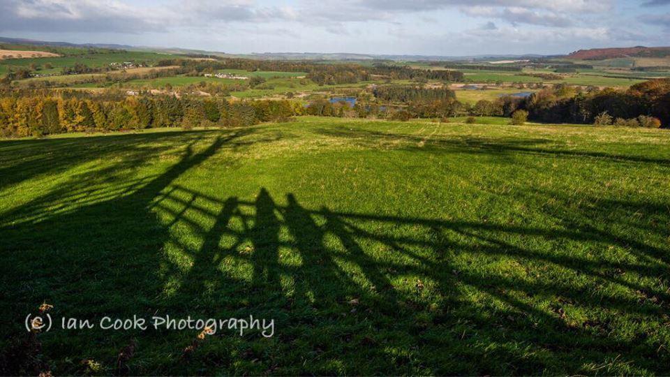 Shadow lands. Powburn, Northumberland, looking north near to Crawley Tower.