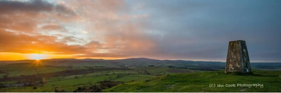 Sunset from Titlington Pike, Northumberland, panoramic.