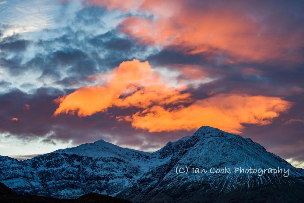 Sunrise over Bidean nam Bian, Glencoe, Scotland.
