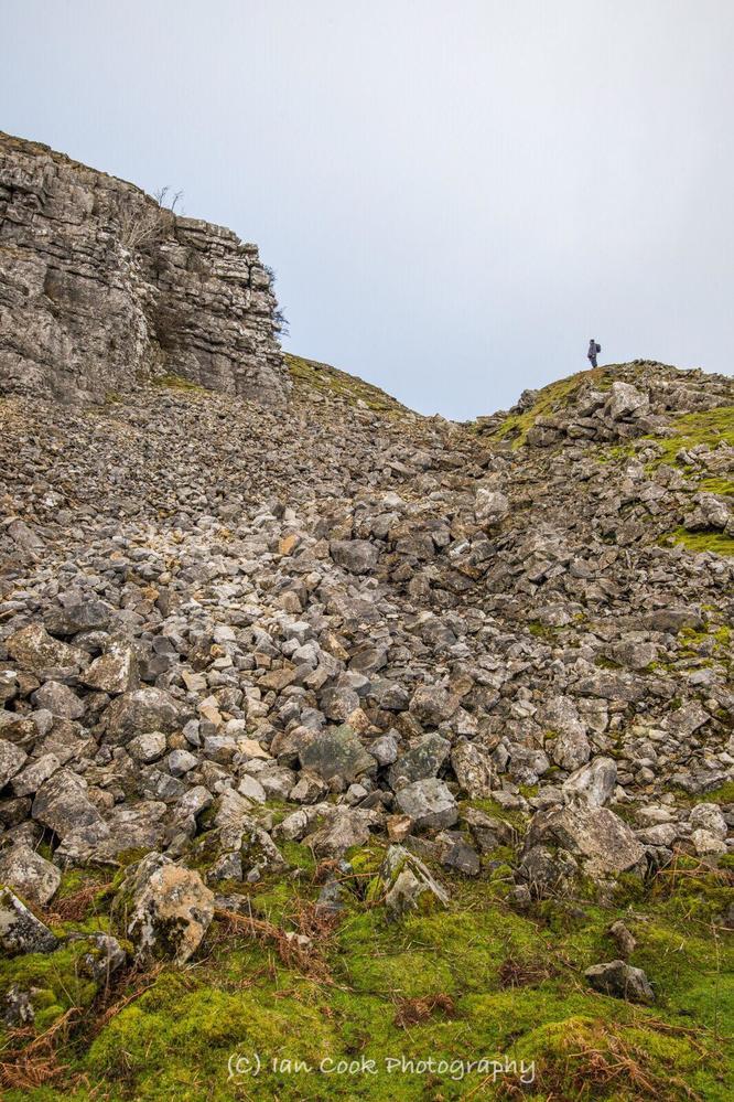 Tog on the rocks. Fremington Edge, North Yorkshire.
