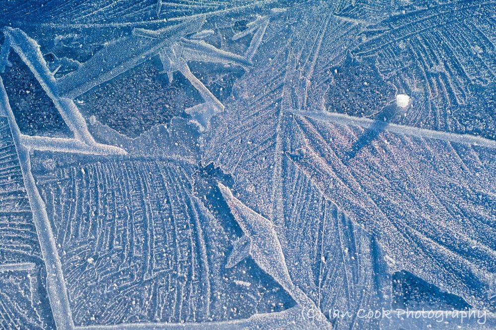 Cool Blue. Ice patterns at Lownathwaite, Gunnerside Gill, Swaledale North Yorkshire.