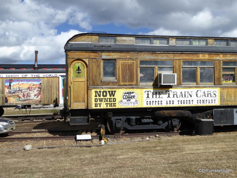Train car coffee shop in Nederville, Colorado