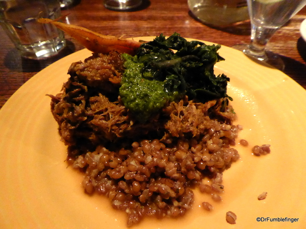Roast pulled pork, farro, carrot and salsa verde.  Delicious!