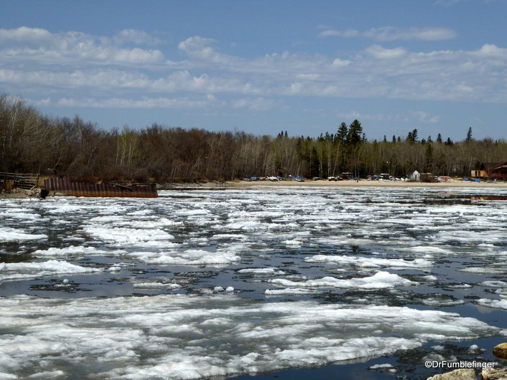 Still a lot of ice left in Lake Winnipeg's bays (Victoria Beach)