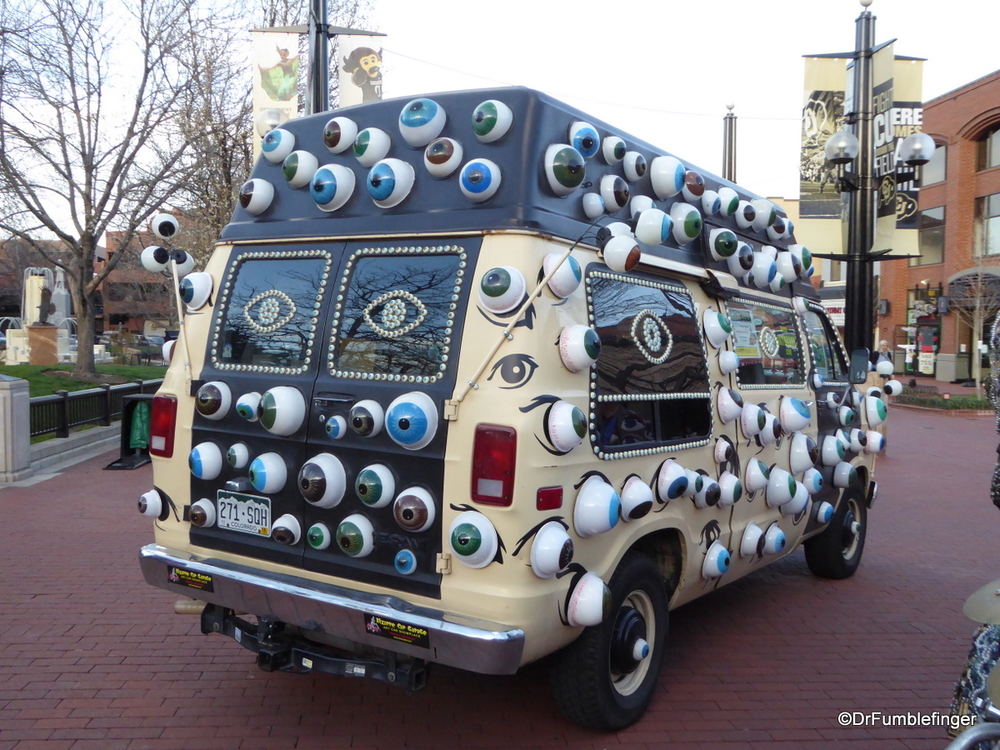 """Spotted on the Road"".  The eyeball van, Pearl Street, Colorado"