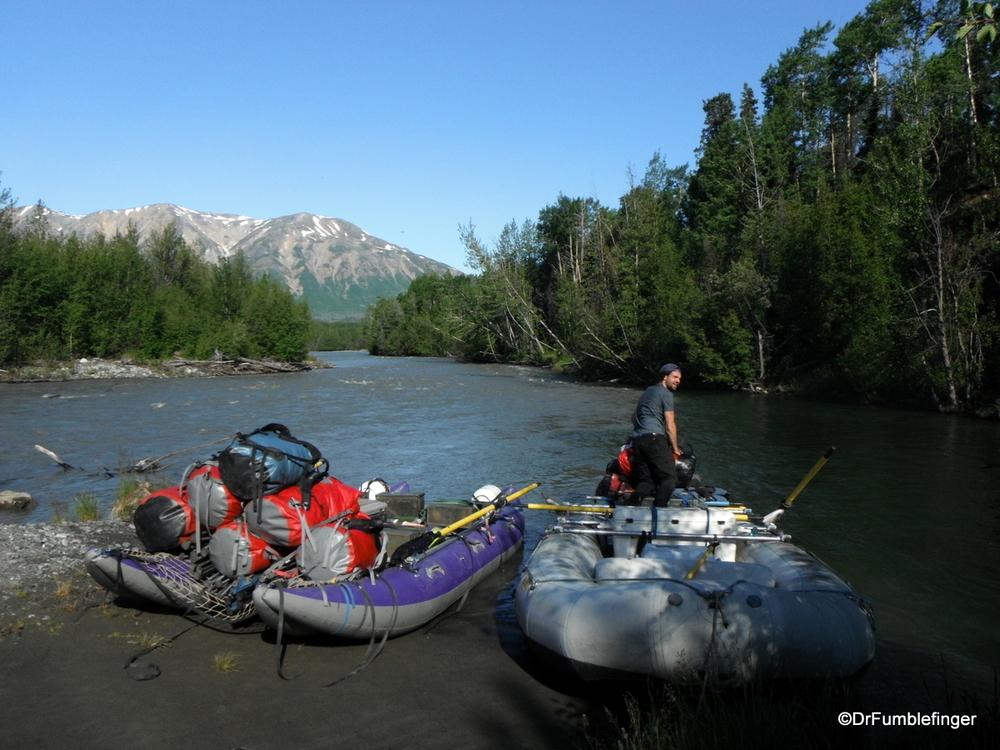 Our guide getting the rafts ready, Tatenshini River, Yukon