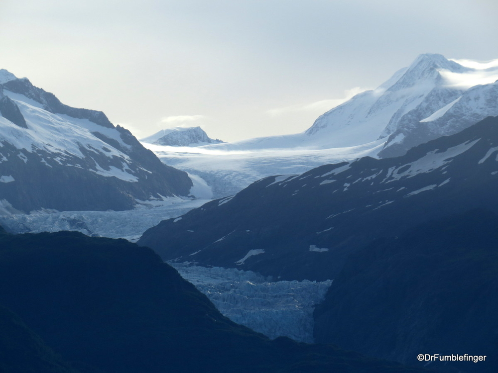 Beautiful Alsek glacier, seen on a rare clear day