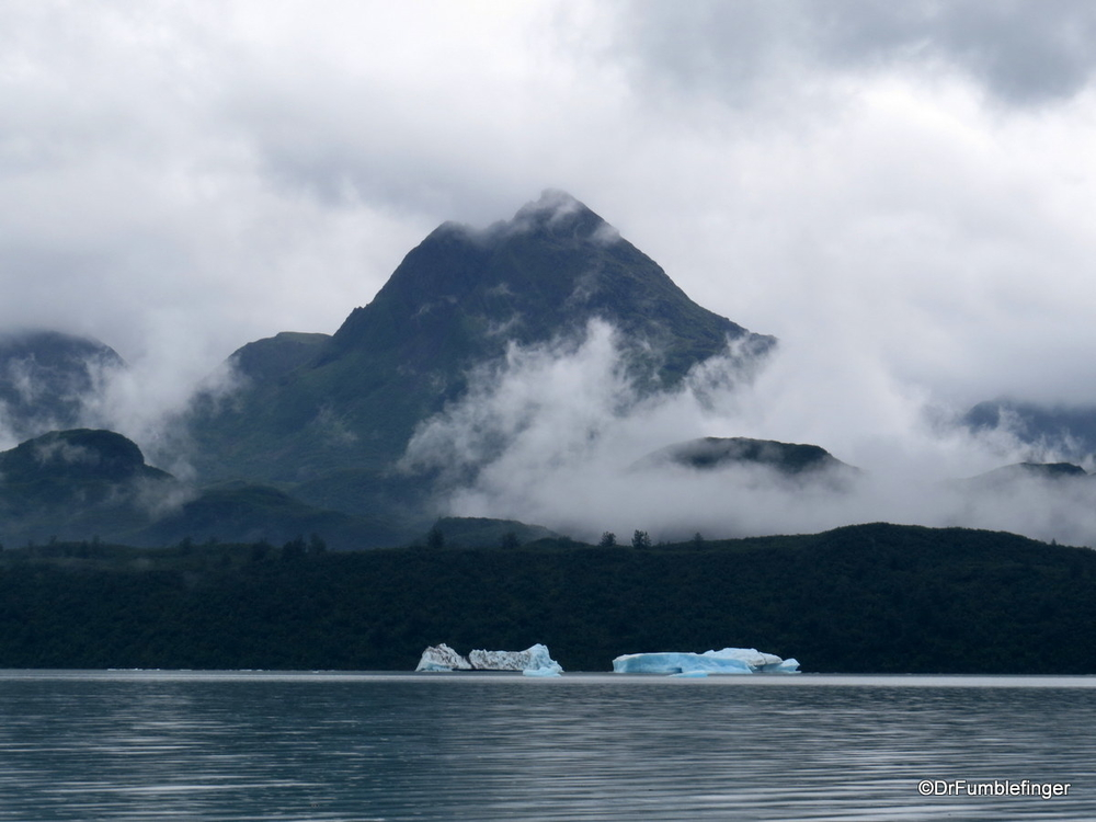 A typical misty rainy day on Alsek Lake -- but quite pretty