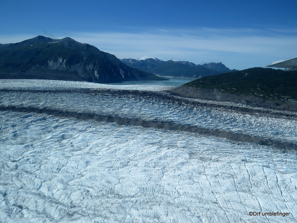 Aerial view of a small portion of the massive Alsek Glacier, Alaska