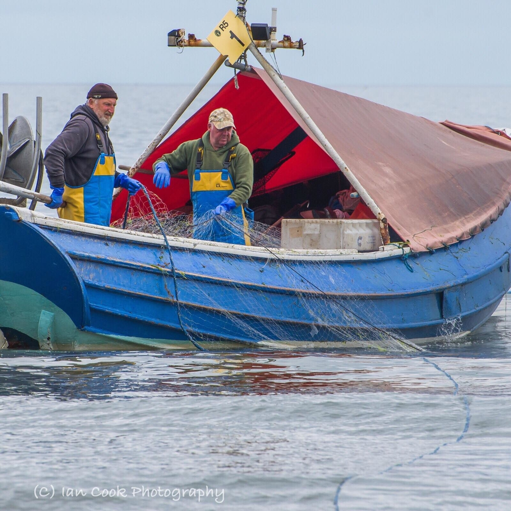 Salmon Fishing. The Salmon Fishermen are back, Warkworth Bay Northumberland.