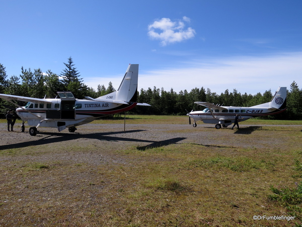 Bush planes getting ready to fly us and our gear back to Whitehorse from DryBay.