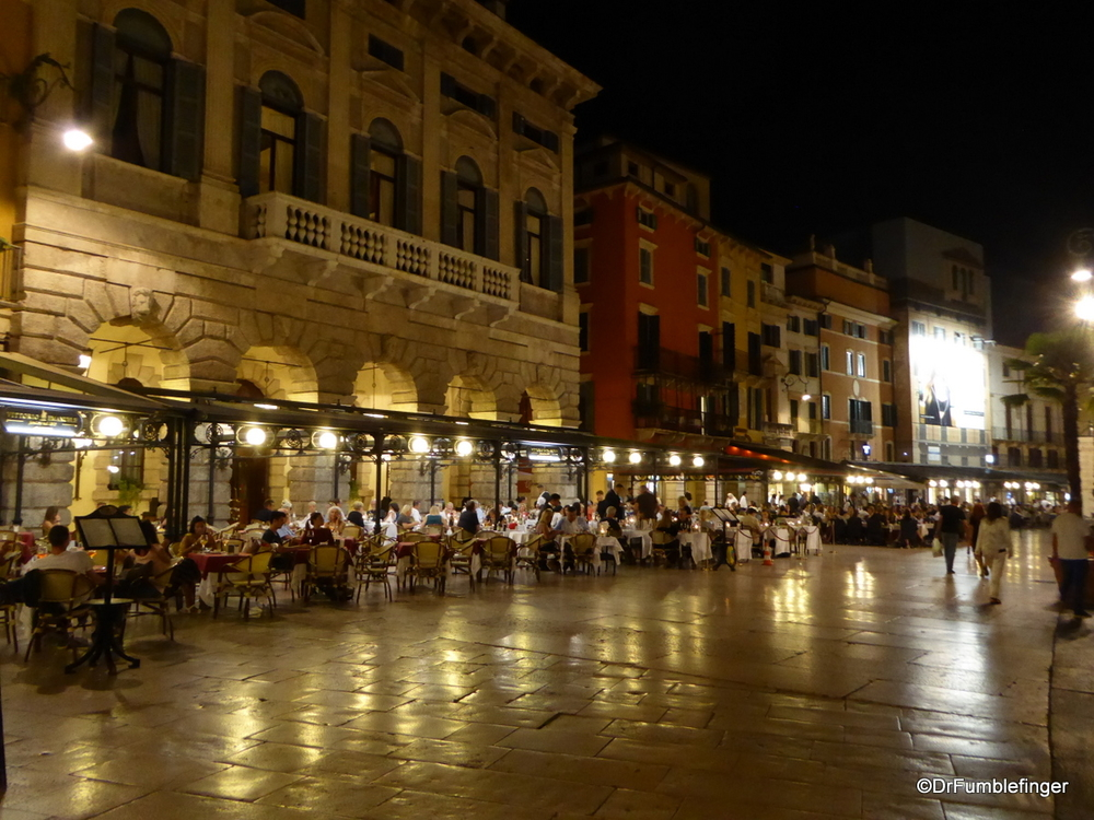 Nightime is lively at the restaurants surrounding Piazza Bra, Verona