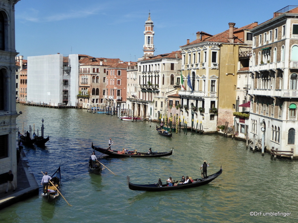 Grand Canal, Venice, with only gondolas and no motorboat in sight