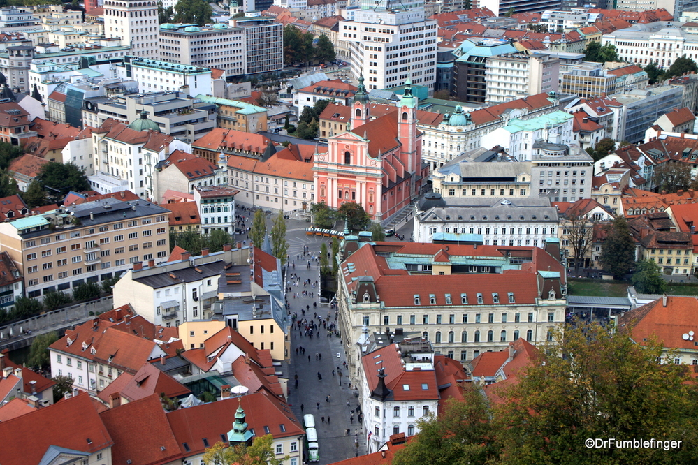 View of the historic heart of Ljubljana from the Castle Tower
