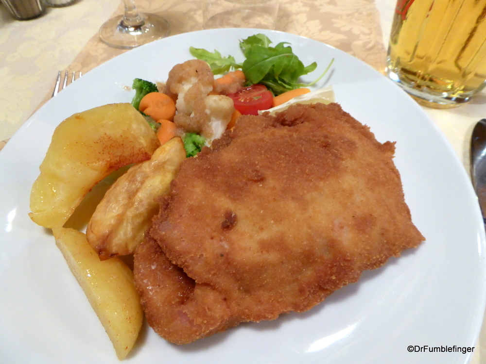 Pork cordon bleu, potatoes and veggies, another dinner dish in Bled