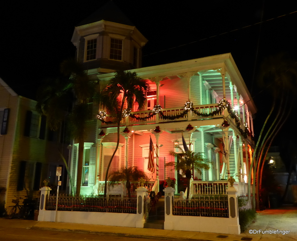 Colorful Christmas themed lighting of home in Key West