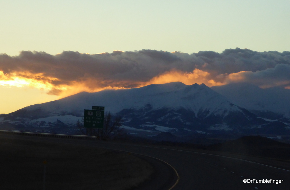 Mountain silhouetted by setting sun, Montana