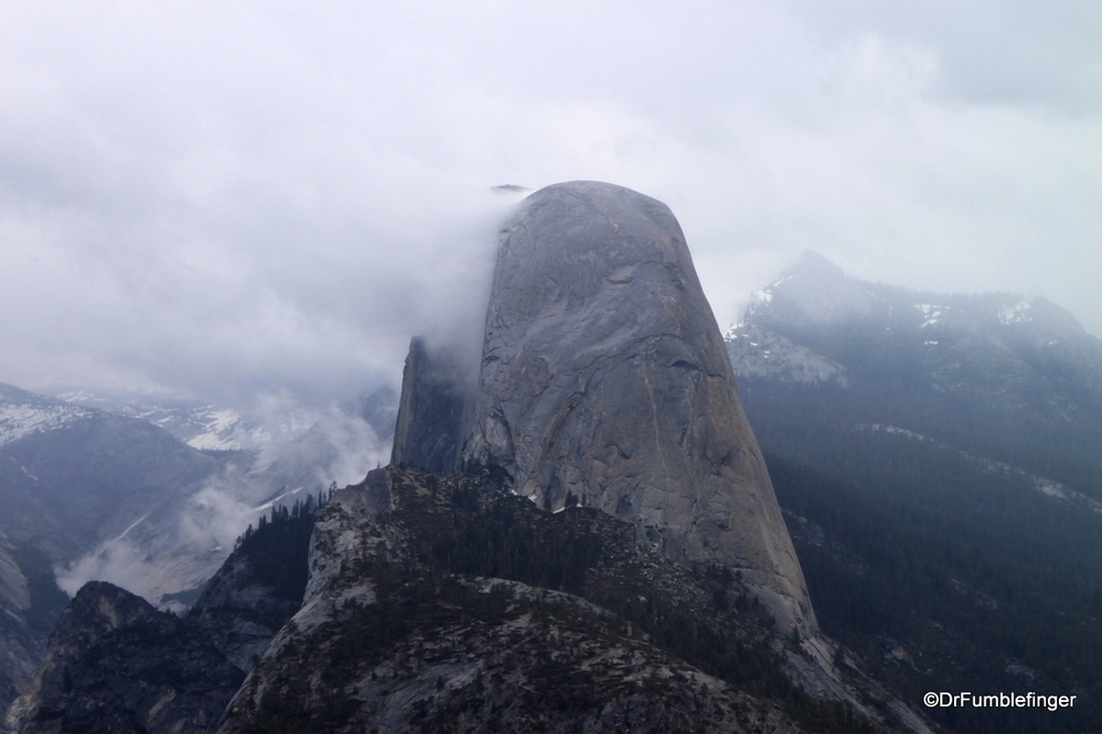 A rare day with Half Dome shrouded by clouds, Yosemite National Park