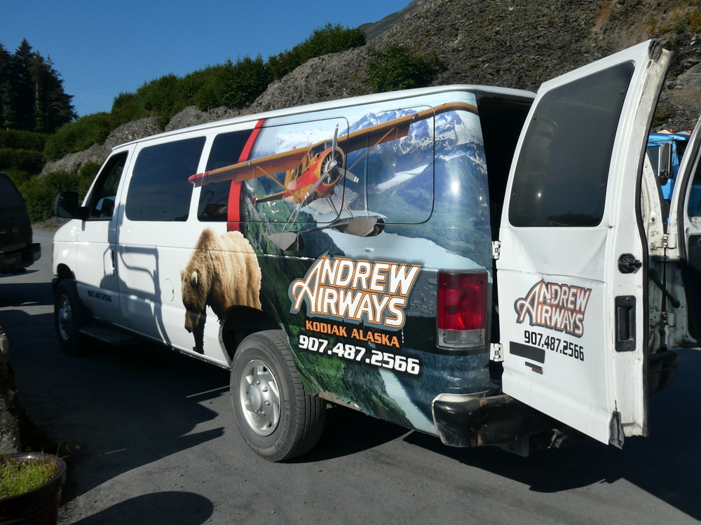 Getting our shuttle for a flight to Katmai National Park